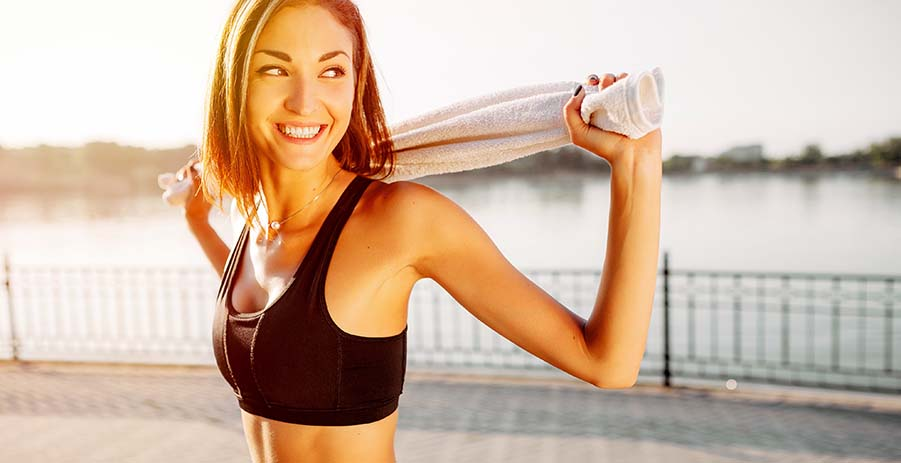 Portrait of an athletic girl. Beautiful young sport fitness mode