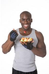 Bodybuilder with Fresh Fruit