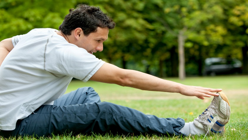 Man doing stretching exercises